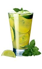 Picture of 50P. The 50P drink is made from Xante cognac, fresh mint leaves, lime wedges, sugar syrup and soda, and served in a highball glass.