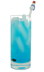 Alaska Iced Tea - The Alaska Iced Tea drink is made from Gin, Vodka, White Rum, Cointreau, Blue Curacao and 7-Up, and served in a highball glass.