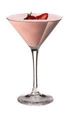 Amarula Sunset - The Amarula Sunset cocktail is made from Amarula cream liqueur, vanilla ice cream and strawberry puree, and served in a chilled cocktail glass.