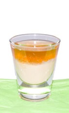 Apricot Spice - The Apricot Spice shot is made from Fultons Harvest pumpkin pie cream liqueur and apricot brandy layered in a chilled shot glass.