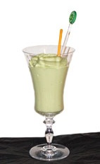 Avocado Delight - The Avocado Delight drink is made from Cointreau, avocado, half-and-half, lime juice, crushed ice and sugar, and served in a parfait glass.