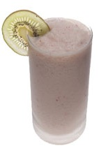 Banana Strawberry Kiwi Batida - The Banana Strawberry Kiwi Batida drink is made in a blender from Leblon Cachaca, condensed milk, strawberries, banana and kiwi, and served in a highball glass.