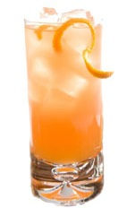 Bitter Bull - The Bitter Bull drink is made from Leblon Cachaca, Red Bull, Campari and orange juice, and served in a highball glass.