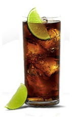 Black & Cola - The Black & Cola drink is made from Jose Cuervo Black Tequila, Coke or Pepsi and lime wedges, and served in a highball glass.