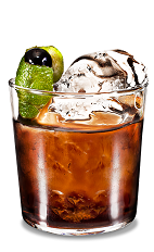 Lime Black Russian - The Lime Black Russian is a modern variation of the classic Black Russian drink, made from Kahlua coffee liqueur, vodka and lime, and served in an old-fashioned glass.