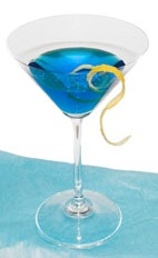 Blue Moon - The Blue Moon cocktail is made from Gin and Blue Curacao, and served in a chilled cocktail glass.