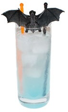 Blue Vampire - The Blue Vampire drink is made from Hpnotiq, Rum and club soda, and served in a highball glass.
