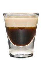 Butterscotch Mocha Shot - The Butterscotch Mocha shot is made from Kahlua coffee liqueur, Baileys Irish cream and butterscotch schnapps layered in a chilled shot glass.