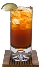 Cafe Cola - The Cafe Cola drink is made from Leblon Cachaca, cola, coffee liqueur, cranberry juice and lime juice, and served in a highball glass.