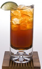 Capi-Cola - The Capi-Cola drink is made from Leblon Cachaca, Coca-Cola and lime, and served in a highball glass.