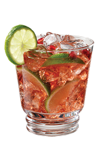 Caipirinha de PAMA - The Caipirinha de PAMA drink is made from PAMA Pomegranate Liqueur, cachaça, simple syrup and lime, and served in an old-fashioned glass.