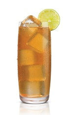 Salted Karamel Tea - The Salted Karamel Tea drink is made from Stoli Salted Karamel Vodka, peach tea and lemon juice, and served in a highball glass.