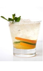 Champagnirinha - The Champagnirinha drink is made from Cachaca, champagne, simple syrup, orange, lemon and lime, and served in an old-fashioned glass.