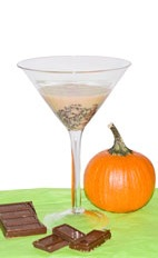 Choco Pumpkin - The Choco Pumpkin cocktail is made from pumpkin pie cream liqueur and melted chocolate, and served in a chilled cocktail glass.