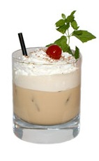 Christmas Holly - The Christmas Holly drink is made from Kahlua Peppermint Mocha, Disaronno, half-and-half and whipped cream, and served in an old-fashioned glass.