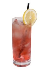 Cosmopolitan Highball - The Cosmopolitan Highball drink is a variation on the classic Cosmopolitan Cocktail, made from vodka, Cointreau, cranberry juice and Roses Lime, and served in a highball glass.
