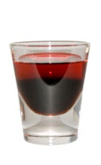 Demon Coffee - The Demon Coffee shot is made by layering red vodka over Kahlua in a chilled shot glass.