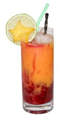 Desert Heat - The Desert Heat drink is made from white rum, prickly pear cactus fruit and orange juice, and served in a highball glass.