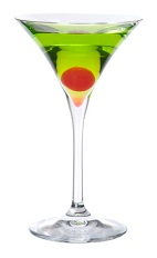 Midori Emerald Martini - The Midori Emerald Martini is made from Midori Melon Liqueur, SKYY Vodka and fresh lime juice, and served in a cocktail glass.