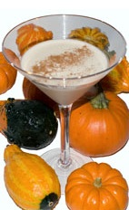 Picture of Fall In Vermont. The Fall In Vermont cocktail is made from rum, Kahlua coffee liqueur, pumpkin pie cream liqueur and cinnamon, and served in a chilled cocktail glass.