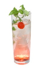 Florida Bride - The Florida Bride drink is made from white rum, grenadine and club soda, and served in a collins glass.