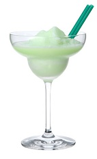 Frozen Midori Milk - The Frozen Midori Milk cocktail is made from Midori melon liqueur, milk and half-and-half, and served in a chilled margarita glass.