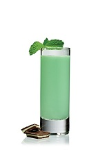 Grasshopper Shot - The Grasshopper Shot is made from Stoli vodka, green creme de menthe, creme de cacao and cream, and served in a chilled shot glass.