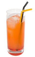 Picture of Halloween Sunset. The Halloween Sunset drink is made from light rum, tangerine juice and grenadine, and served in a highball glass.