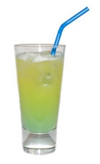 Hpnotiq High - The Hpnotiq High drink is made from Hpnotiq liqueur, gin and pineapple juice, and served in a highball glass.