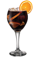 Kahlua Sangria - The Kahlua Sangria drink is made from Kahlua coffee liqueur and sangria (red wine, fresh fruit, club soda), and served in a chilled wine glass.