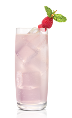 Sweet Tart Koko - The Sweet Tart Koko drink is made from Stoli Chocolat Kokonut vodka, raspberries, lime juice and simple syrup, and served in a highball glass.