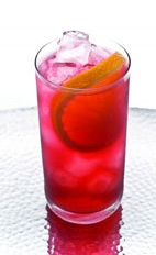 Leblon Madras - The Leblon Madras drink is made from cachaca, orange juice and cranberry juice, and served in a highball glass.