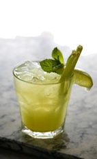 Leblon Naked Caipirinha - The Leblon Naked Caipirinha drink is made from cachaca, tonic water and lime wedges, and served in an old-fashioned glass.
