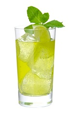 Loretto Lemonade - The Loretto Lemonade drink is made from Midori melon liqueur, bourbon, lime juice and ginger beer, and served in a highball glass.