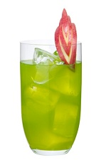 Love Junk - The Love Junk drink is made from Midori melon liqueur, peach brandy and apple juice, and served in a highball glass.