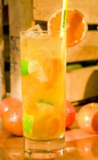 Mandarin Meltdown - The Mandarin Meltdown drink is made from cachaca, orange juice, tangerine puree, agave nectar, bitters and lemon juice, and served in a highball glass.