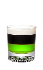 Midori Buzz Shot - The Midori Buzz Shot is made from Midori melon liqueur, espresso and cream, and served in a chilled shot glass.