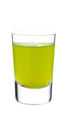 Illusion Shaker - The Illusion Shaker shot is made from Midori melon liqueur, triple sec, vodka, lemon juice and pineapple juice, and served in a chilled shot glass.