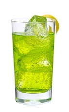 Midori Rickey - The Midori Rickey drink is made from Midori melon liqueur, club soda and lime, and served in a highball glass.