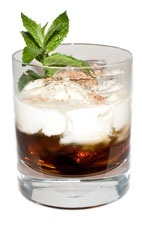 Mint Sombrero - The Mint Sombrero drink is made from Kahlua Peppermint Moca liqueur, half-and-half and grated chocolate, and served in an old-fashioned glass.