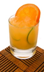 Orange Caipirinha - The Orange Caipirinha drink is made from cachaca, orange juice, lime and Sprite, and served in an old-fashioned glass.