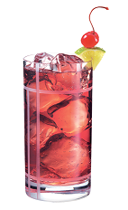 Club PAMA - The Club PAMA drink is made from PAMA Pomegranate Liqueur and club soda, and served in a highball glass.