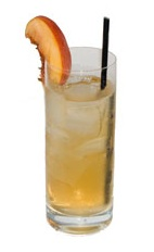 Peach Lemon Fizz - The Peach Lemon Fizz drink is made from gin, peach brandy, lemon juice and champagne, and served in a highball glass.