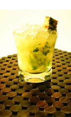Pineapple Mint Caipirinha - The Pineapple Mint caipirinha is made from cachaca, sugar, mint leaves and pineapple, and served in an old-fashioned glass.