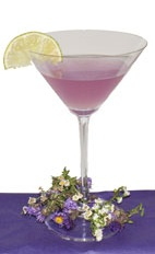 Purple Blossom - The Purple Blossom cocktail is made from Hpnotiq Harmonie, gin, club soda and lime juice, and served in a chilled cocktail glass.