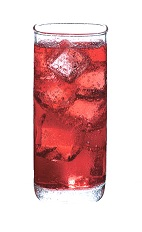 Red Bubbles - The Red Bubbles drink is made from Cointreau, red grape juice and club soda, and served over ice in a highball glass.