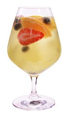 Sparkling Acai Sangria - The Sparkling Acai Sangria drink is made from VeeV acai spirit, St. Germain elderflower liqueur, orange juice and champagne, and served in a brandy snifter.