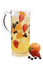 Sparkling Acai Sangria Pitcher - The Sparkling Acai Sangria Pitcher is made from VeeV acai spirit, St Germain elderflower liqueur, orange juice and champagne, and served in a pitcher. This recipe makes 6 servings.
