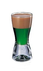 Springbok Shot - The Springbok Shot is made by layering Amarula over creme de menthe in a chilled shot glass.