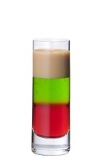 Squashed Frog - The Squashed Frog shot is made from Midori melon liqueur, grenadine and advocaat, and served in a chilled shot glass.